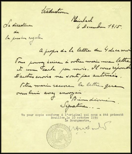 site 047  6 déc 1915 traduction de la lettre allemande