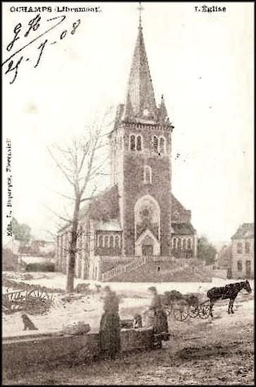 site ochamps devant l'église 1908