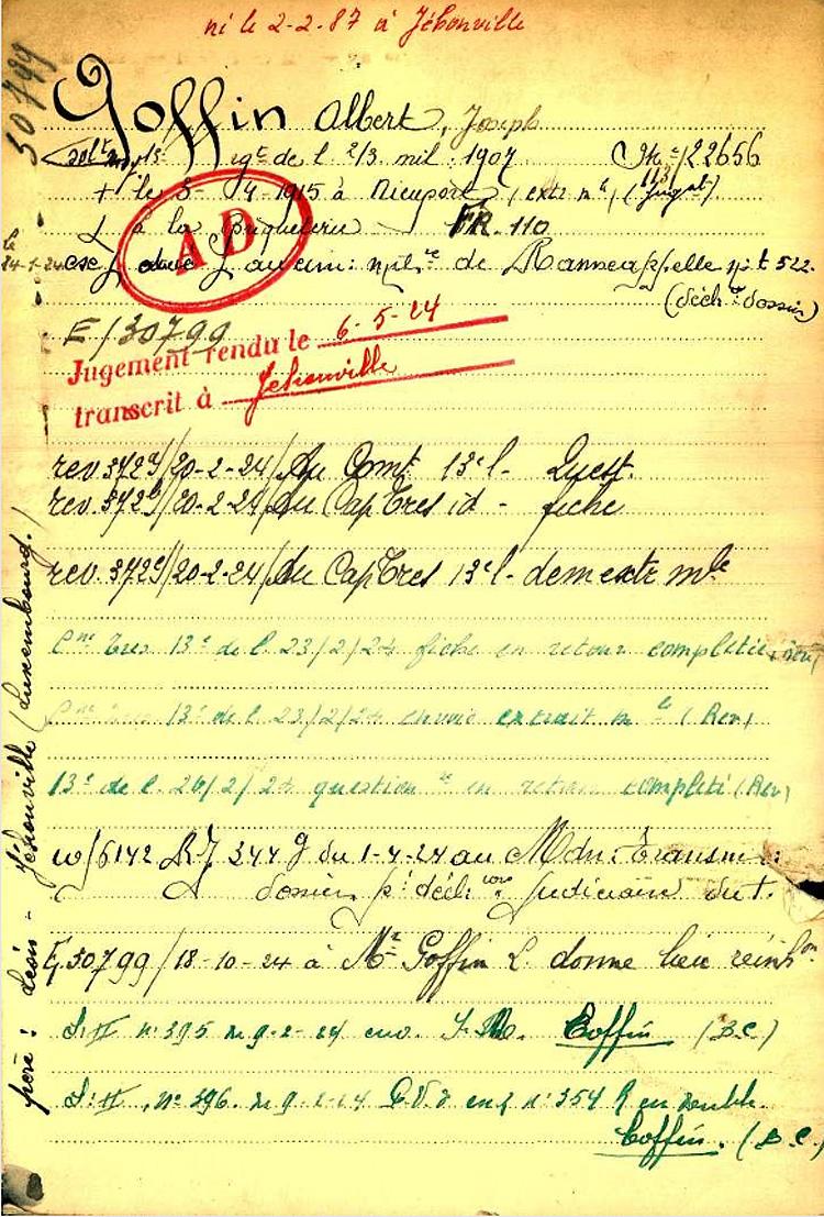 goffin albert belg war register page 1
