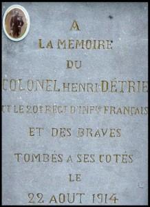 site a la mémoire du colonel henri detrie et le 20ème rég d'inf français tombés à ses côtés le 22aout 1914 photo N°2