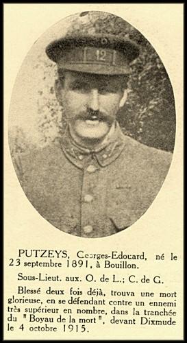 site Lt PUTZEYS de BOUILLON 12è Lig 4oct 1915 boyau de la mort