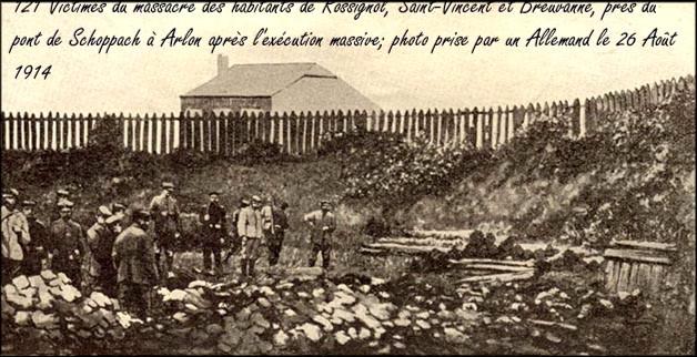 site 02 Arlon ,près du pont de Schoppach, 121 victimes de Rossignol fusillées le 26 Août 1914