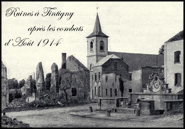 site 1914 août TINTIGNY ruines autour de l'église