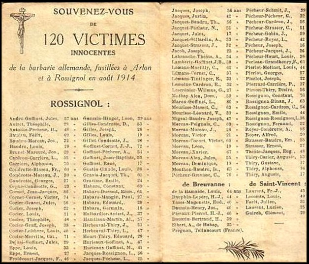 site rossignol souvenir des 120 victimes de 1914 verso