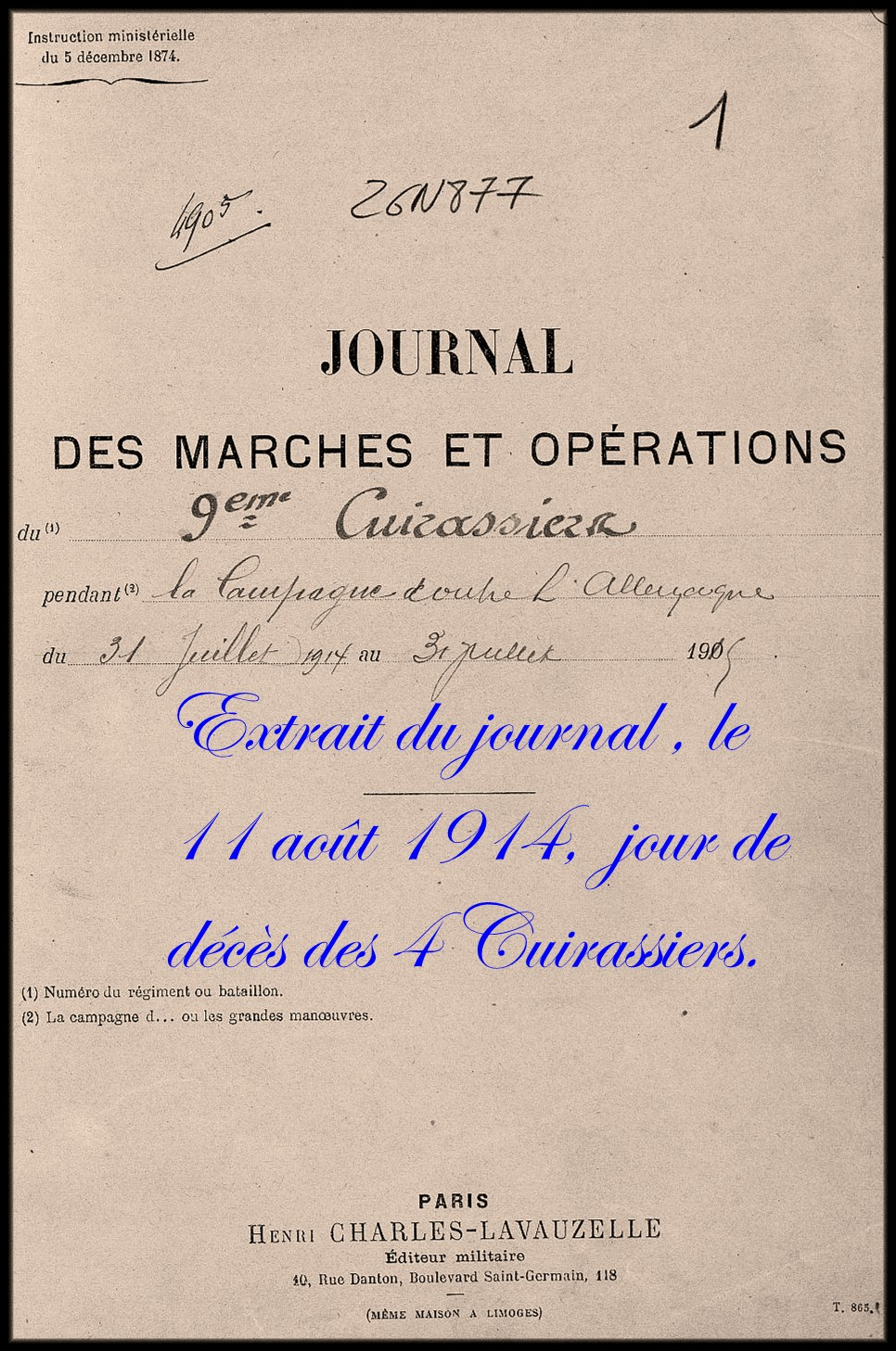 site 01journal des opérations 9ème cuirassier