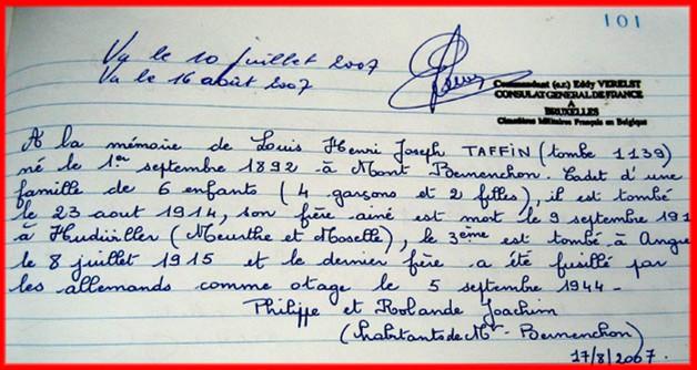 site a la mémoire de Louis Henri Joseph TASSIN