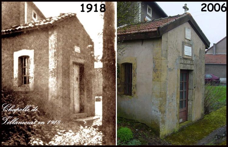 site so chapelle de tellancourt en 1918 & 2006