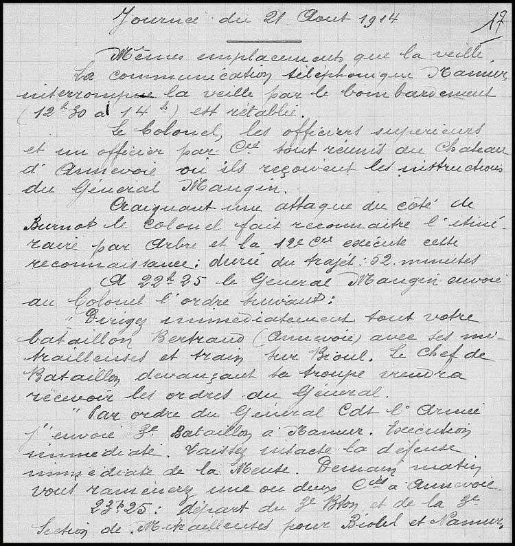 site so fr 148ème ri journal opérations  Aout 1914 21