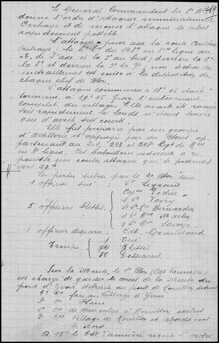 site so fr 148ème ri journal opérations  Aout 1914 23 bis