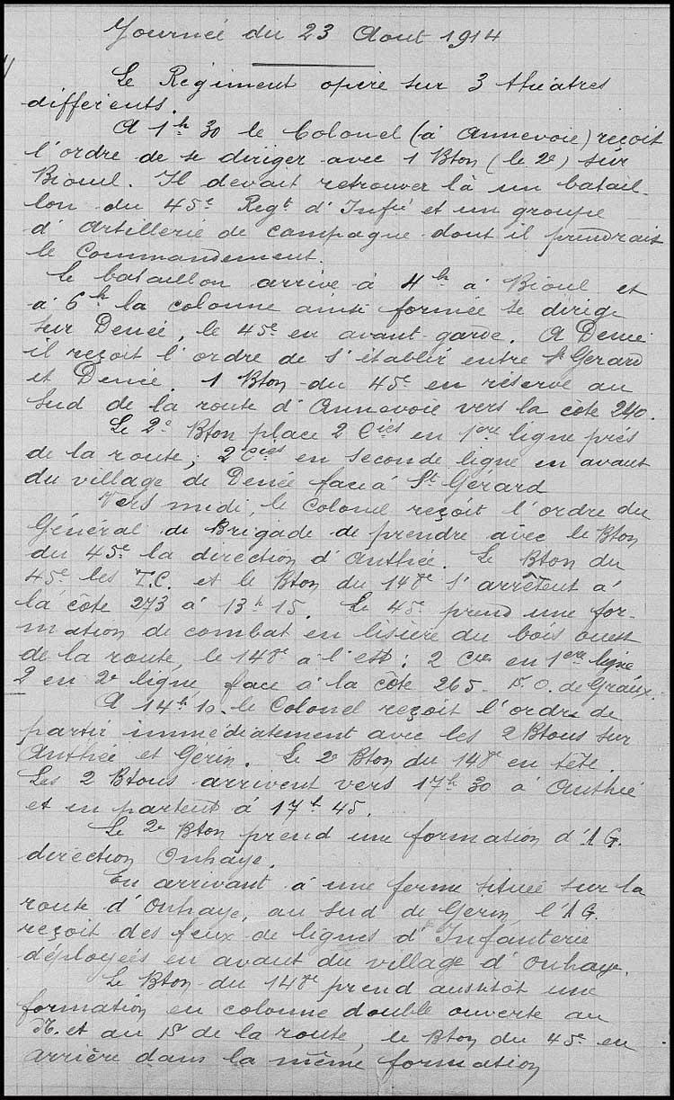 site so fr 148ème ri journal opérations  Aout 1914 23