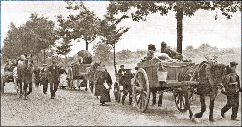 site so be 1914 les habitants d'un village belge fuyant devant les avant-gardes allemandes