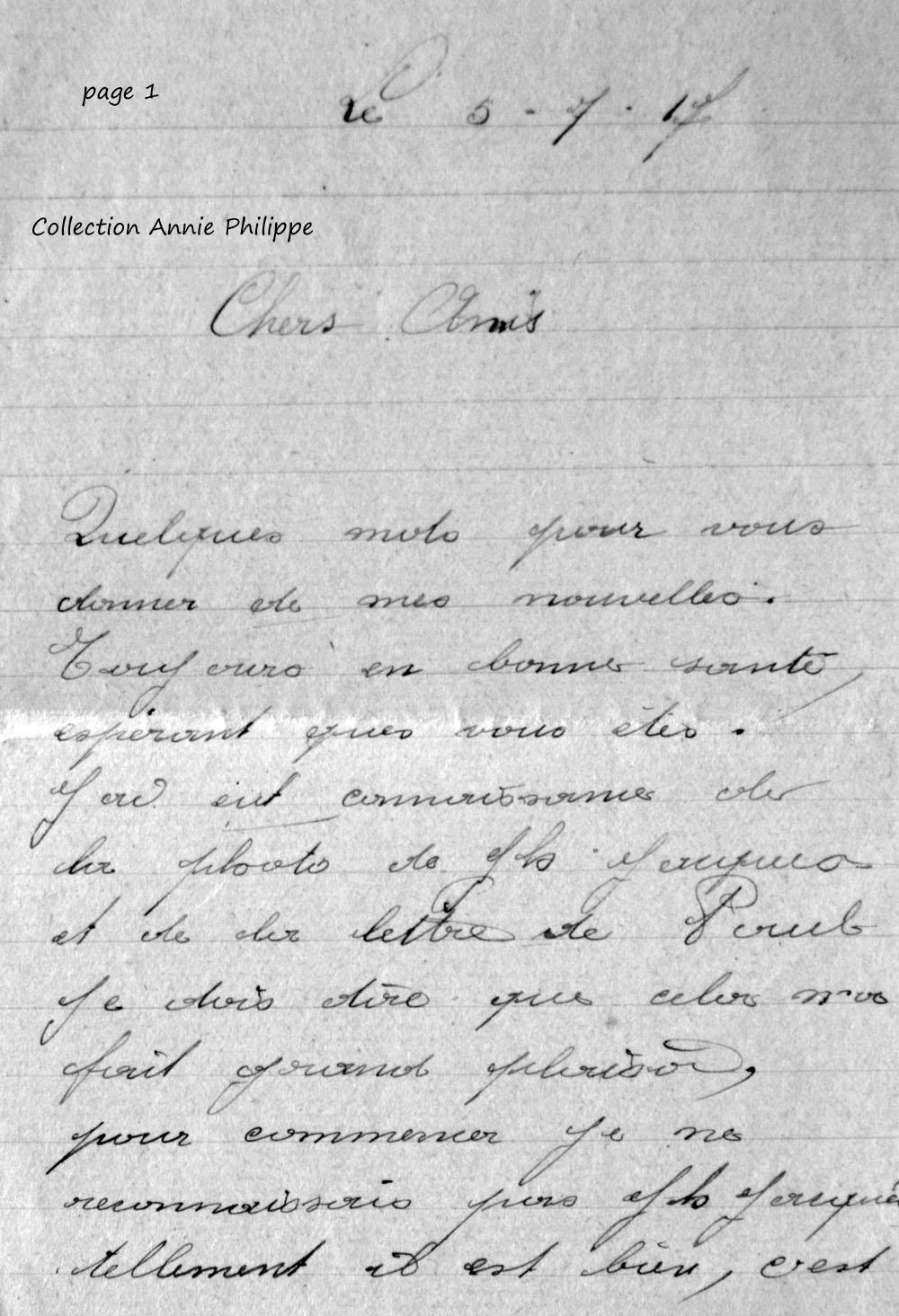 1917 07 05 PAGE 01 lettre de Félix à ses amis