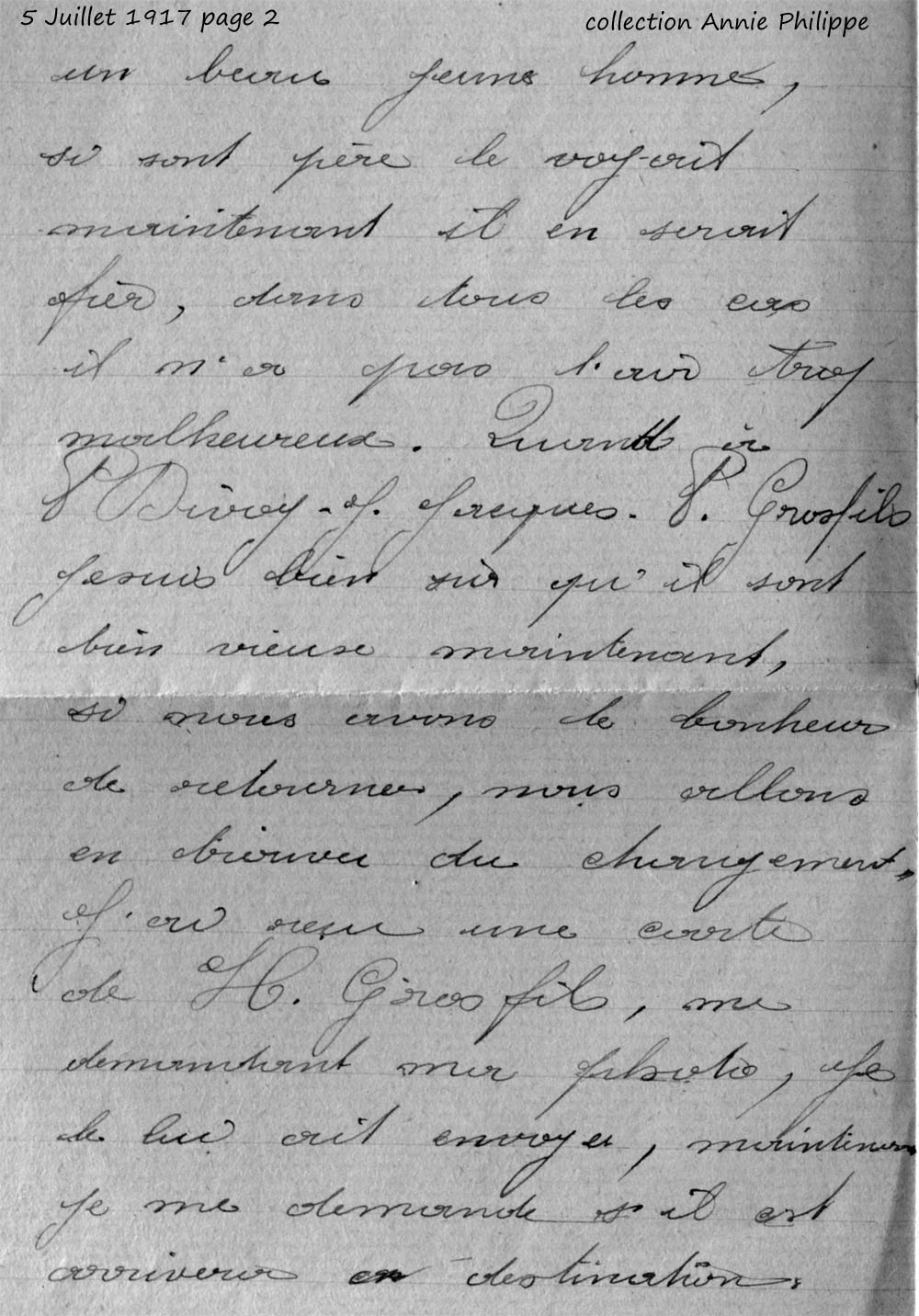 1917 07 05 PAGE 02 lettre de Félix à ses amis