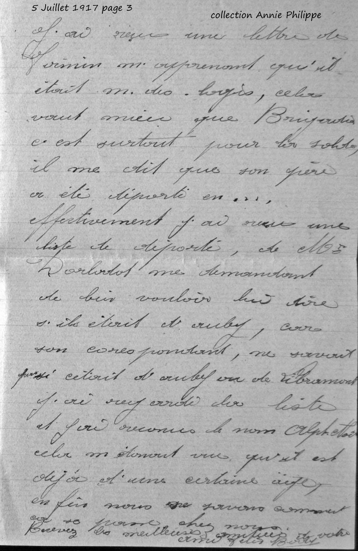 1917 07 05 PAGE 03 lettre de Félix à ses amis