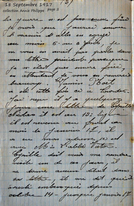 1917 09 18 page 2 decide d'aller à Lourdes