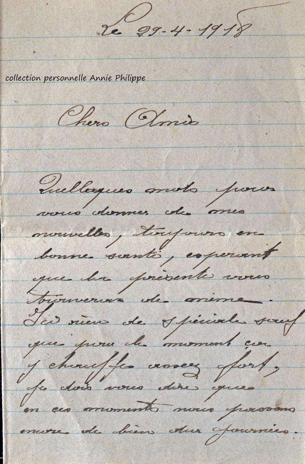1918 04 29 lettre de félix à ses amis page 1