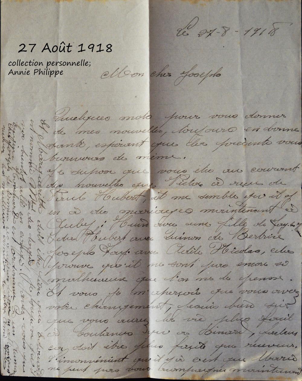 1918 08 27 les mariages annoncés par Félix
