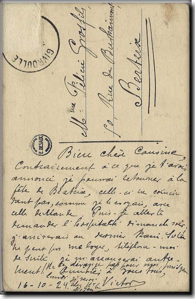 lettre Victor Grosfils à sa cousine