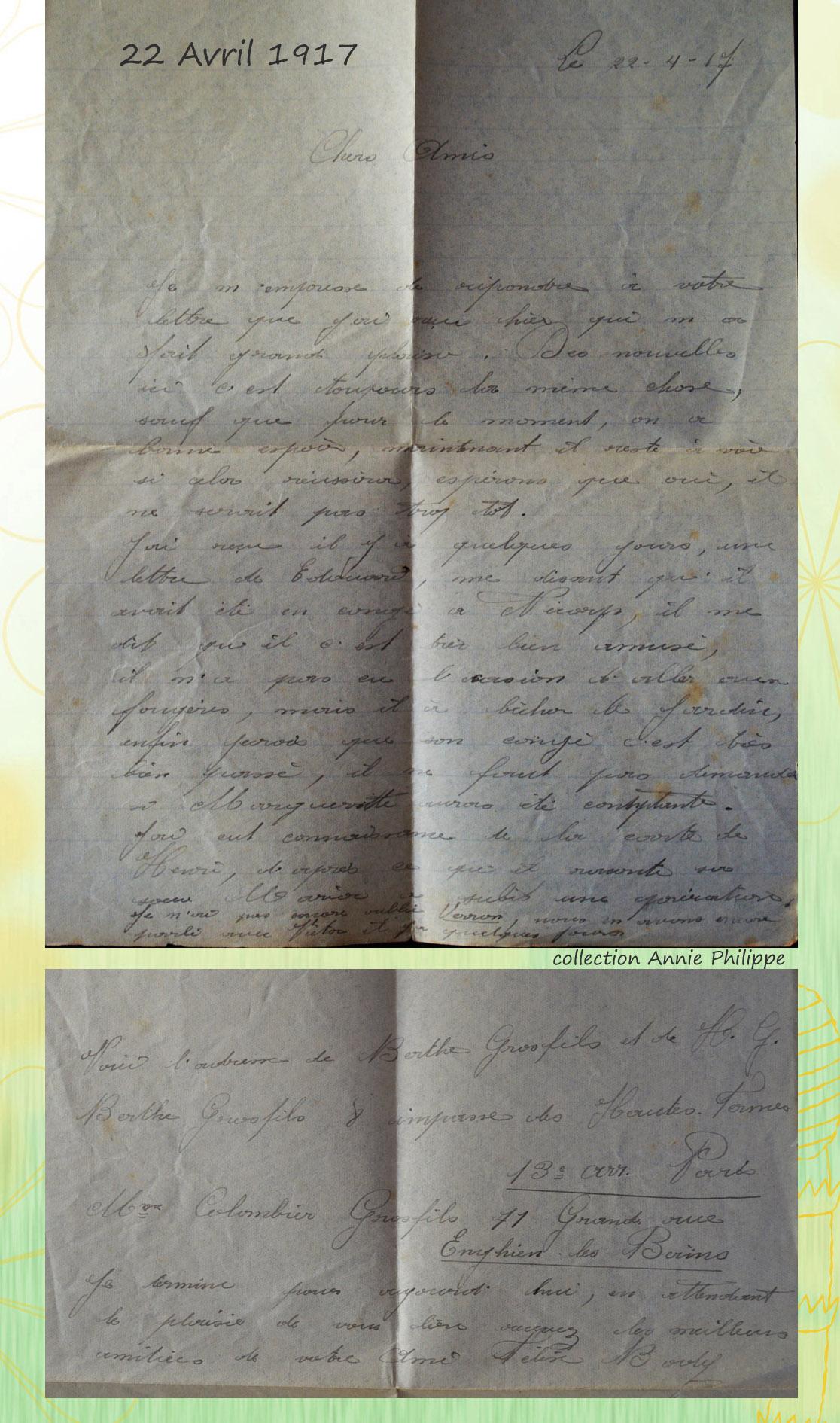 site to be 1917 04 22 letre de félix à ses amis Nicorps
