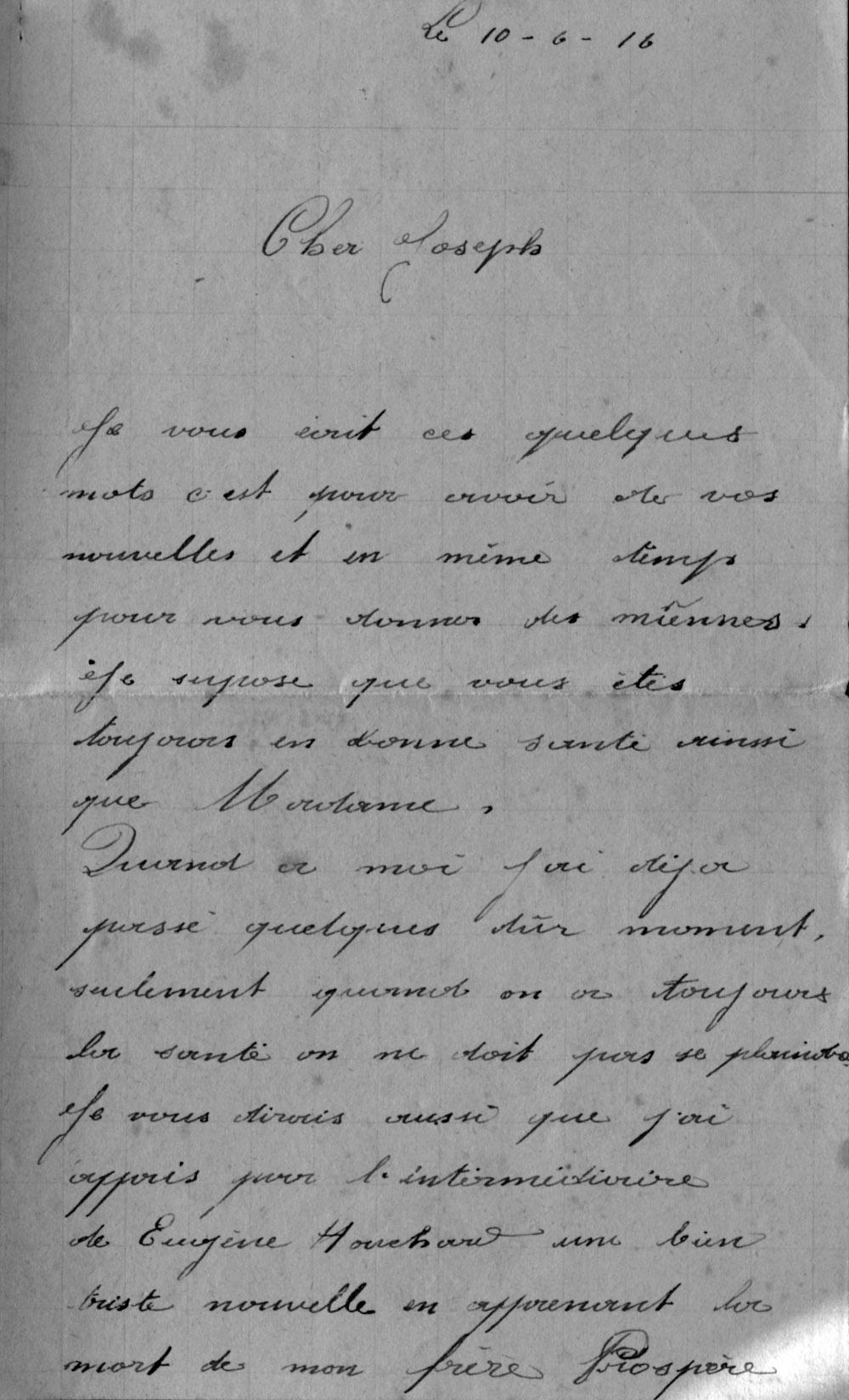 to be 1916 06 10 décès prospère page 1
