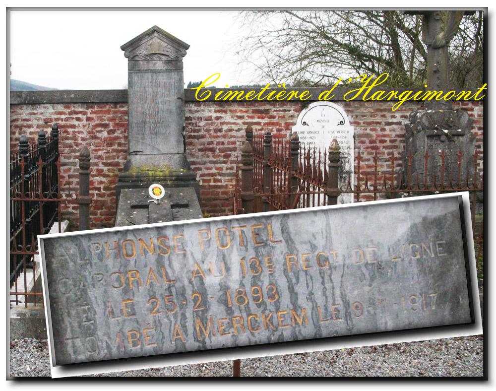 site me hargimont sépulture Potel alphonse 19è