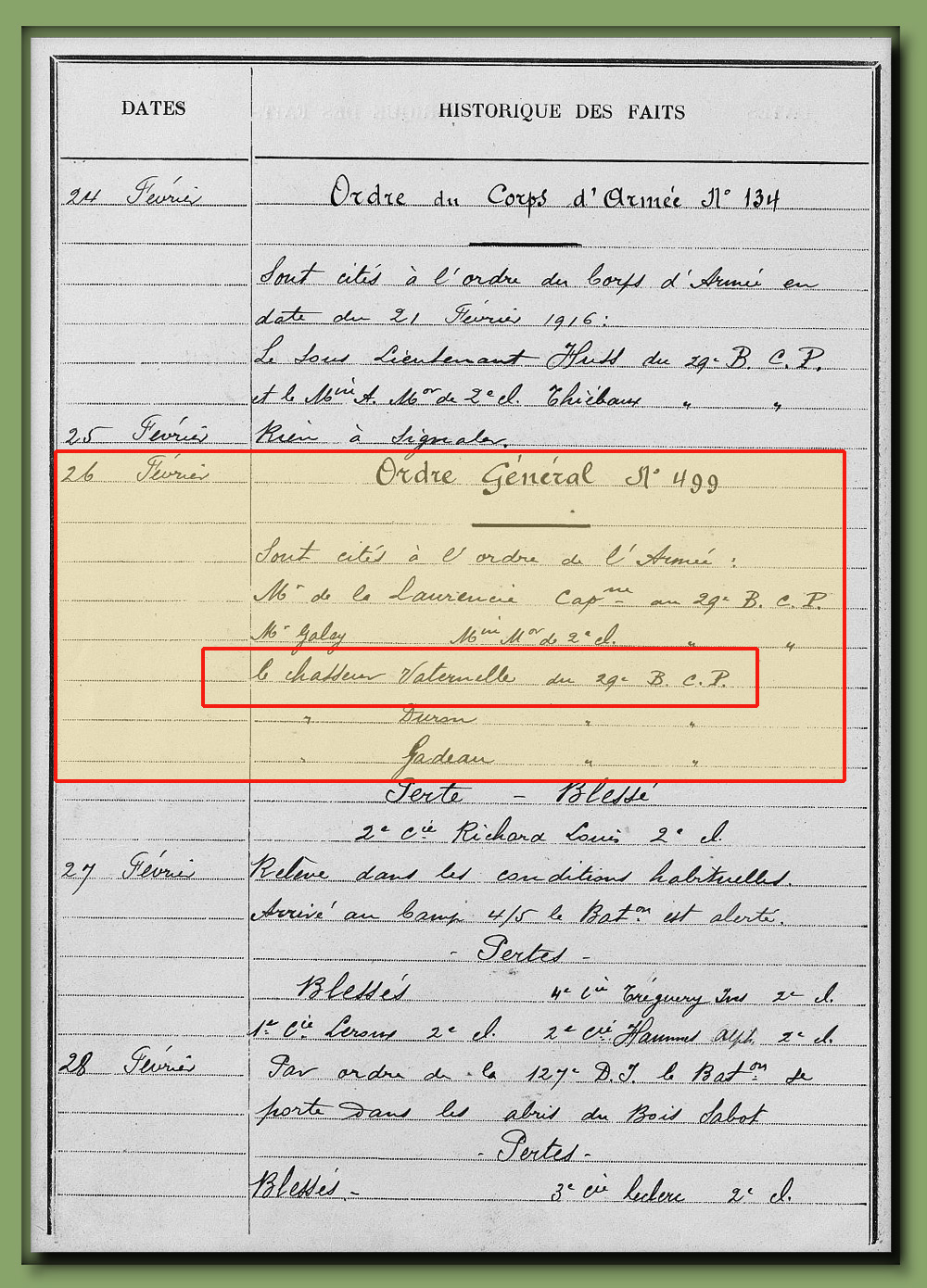 site to fr jmo 26 fev 1916 ordre bataille 499 vaternelle