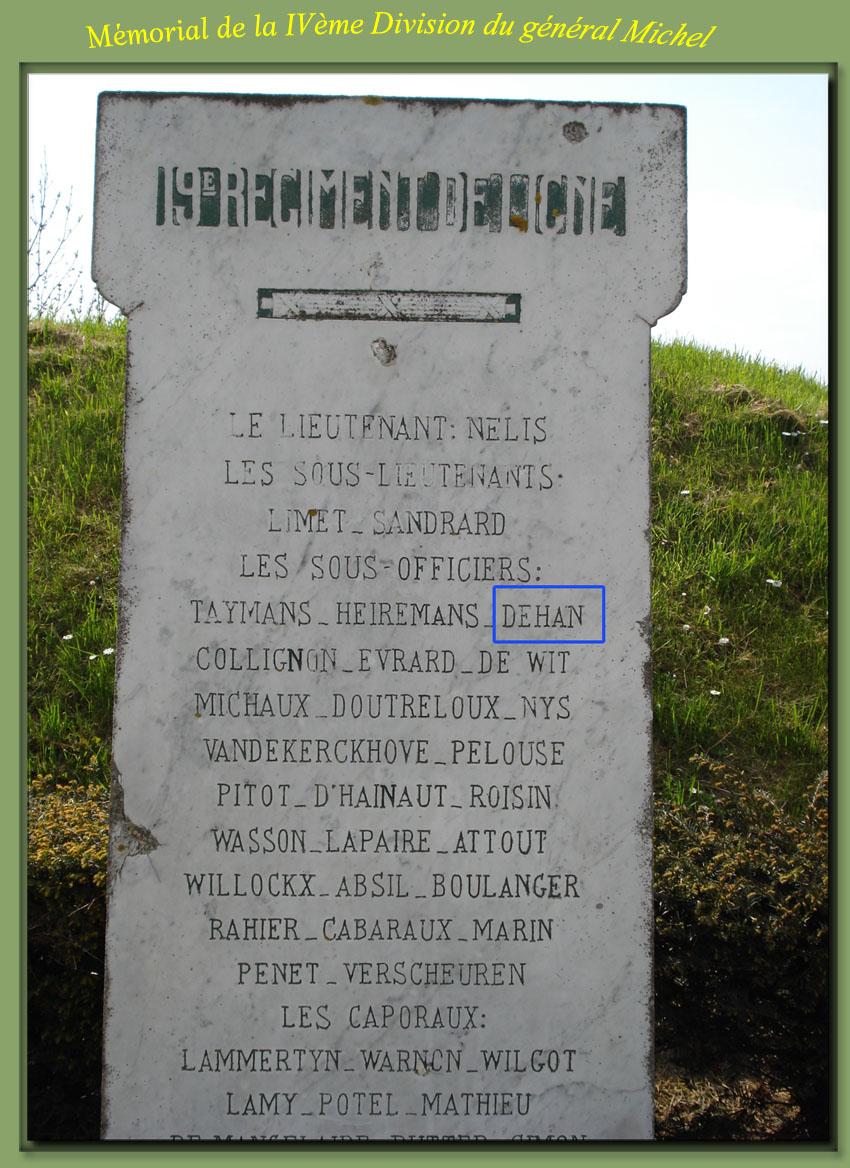 site to be  mémorial 4ème division 19ème ligne  dehan