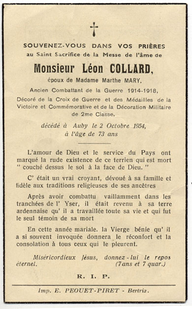 faire-part Léon Collard , combattant 1914-18