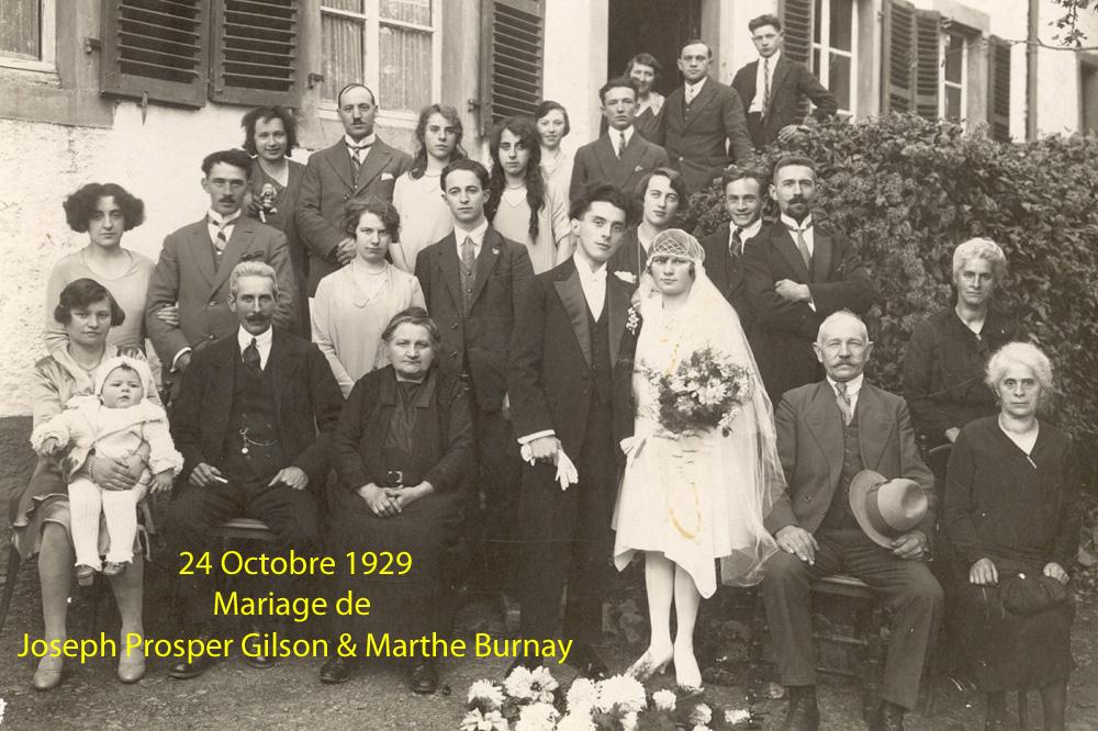 24 octobre 1929 mariage de joseph prosper gilson & marthe burnay