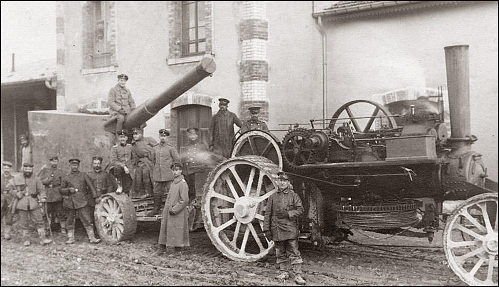 site to de canon allemand tiré par tracteur vapeur