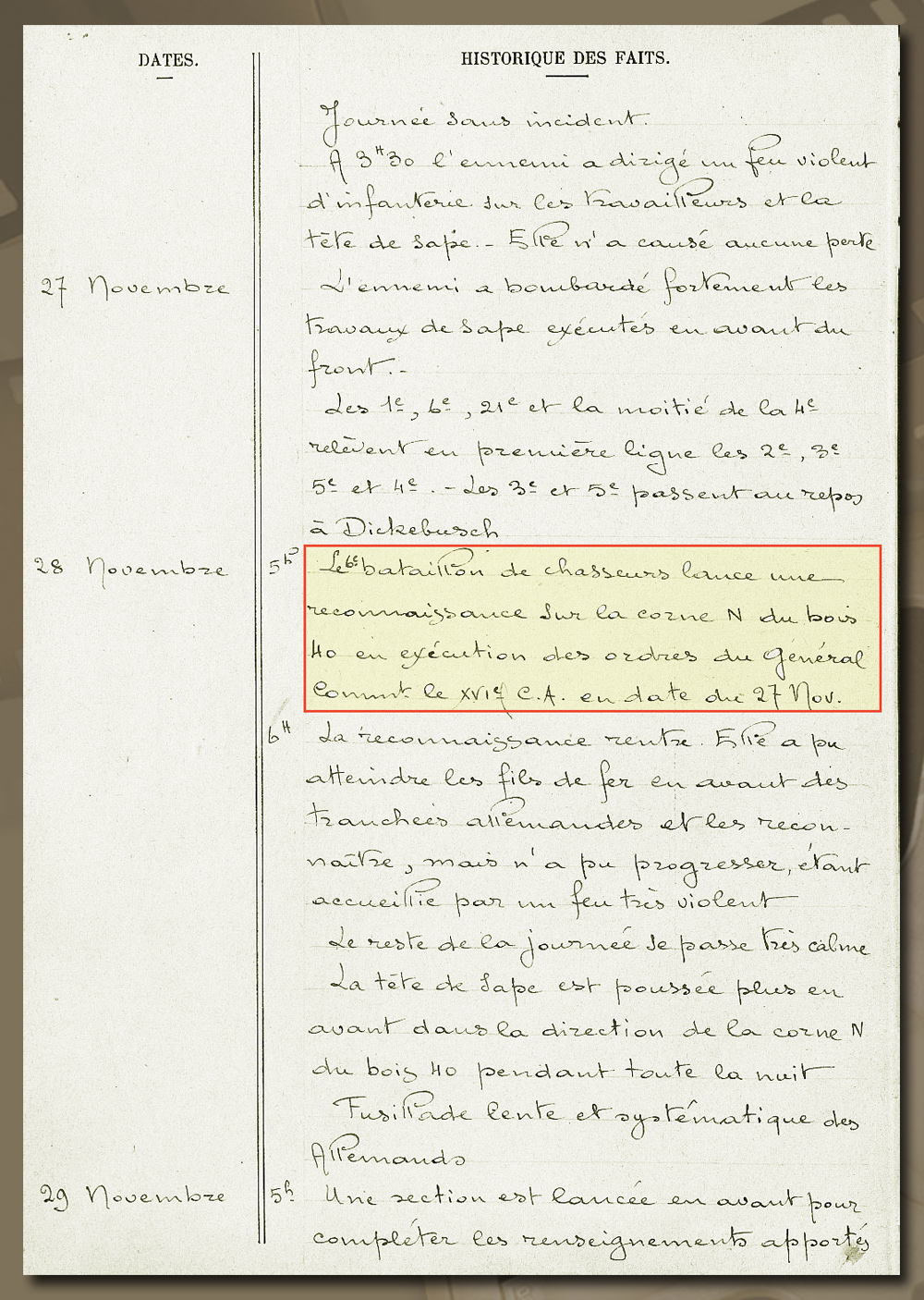 historique 6è bca ypres 28 nov 1914