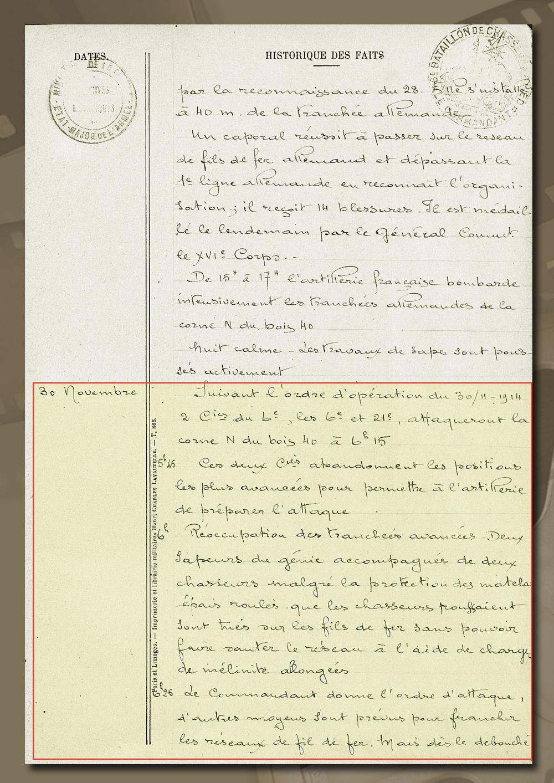 historique 6è bca ypres 30 nov 1914
