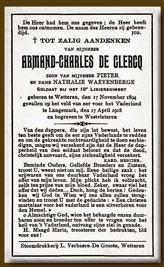 site to be armand de clercq avis mortuaire