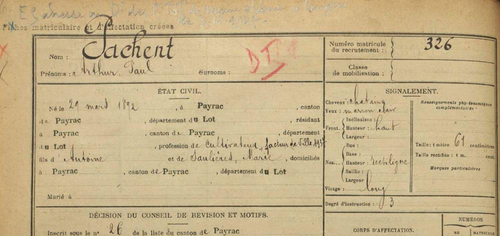 site to Pachent arthur Paul identité