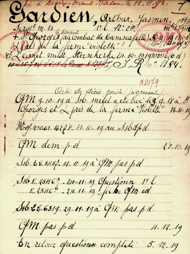 site to be fiche belg war registre page 01