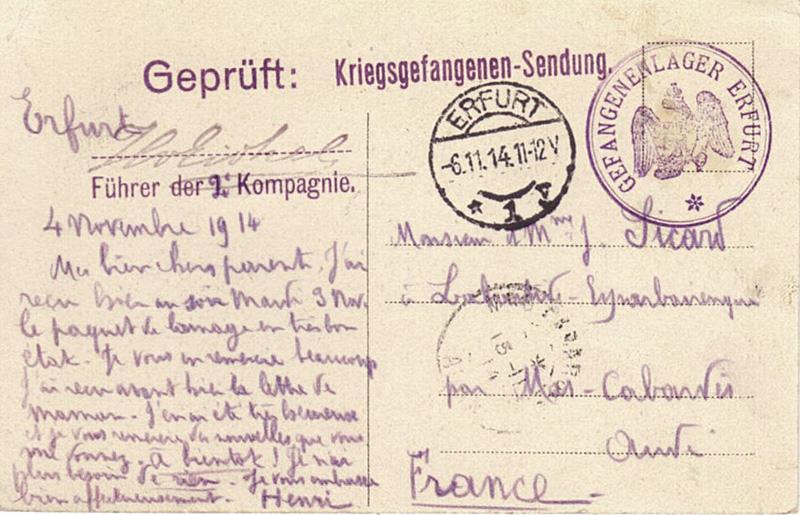 site to de erfurt sicard 4 nov 1914