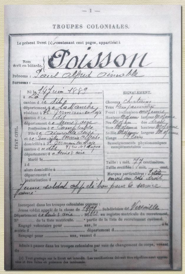 14juin 1889 poisson paul fiche coloniale
