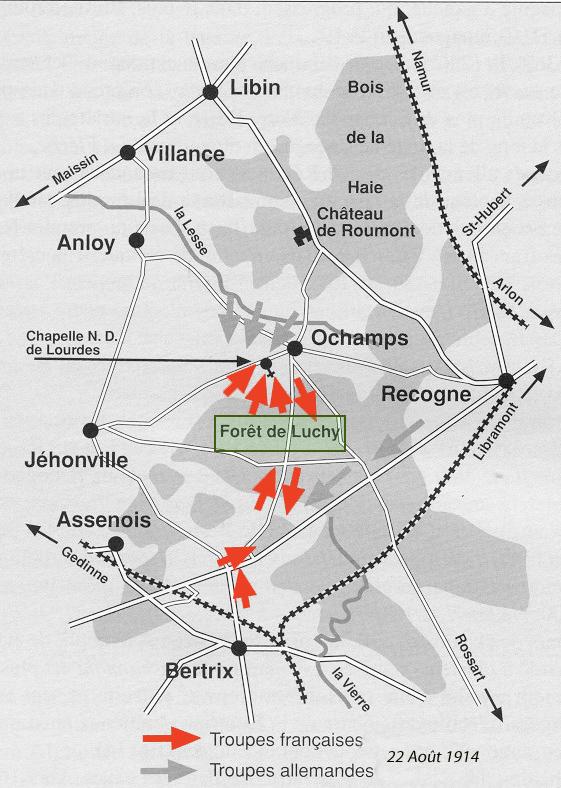 111 22 aout 1914 plan de bataille de Luchy entre btx & ochamps