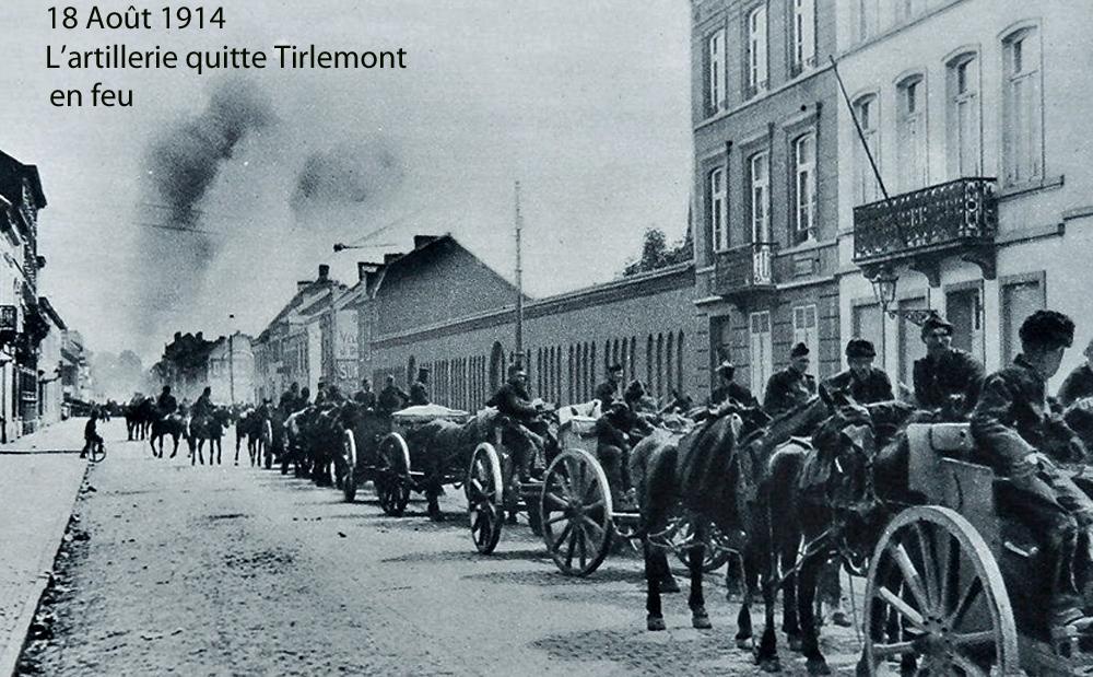 18 Aout 1914 artillerie quitte tirlemont en feu