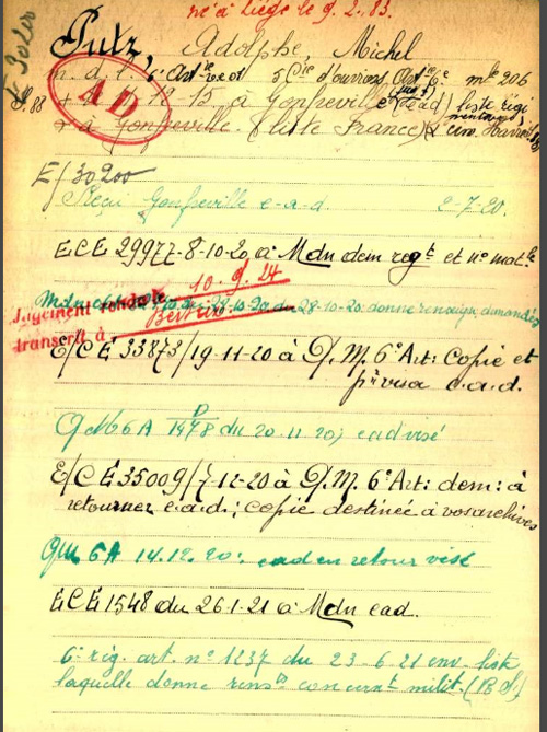 Adolphe PUTZ war register