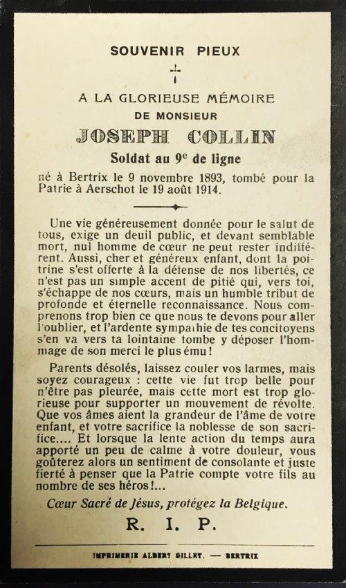 Collin Joseph avis mortuaire