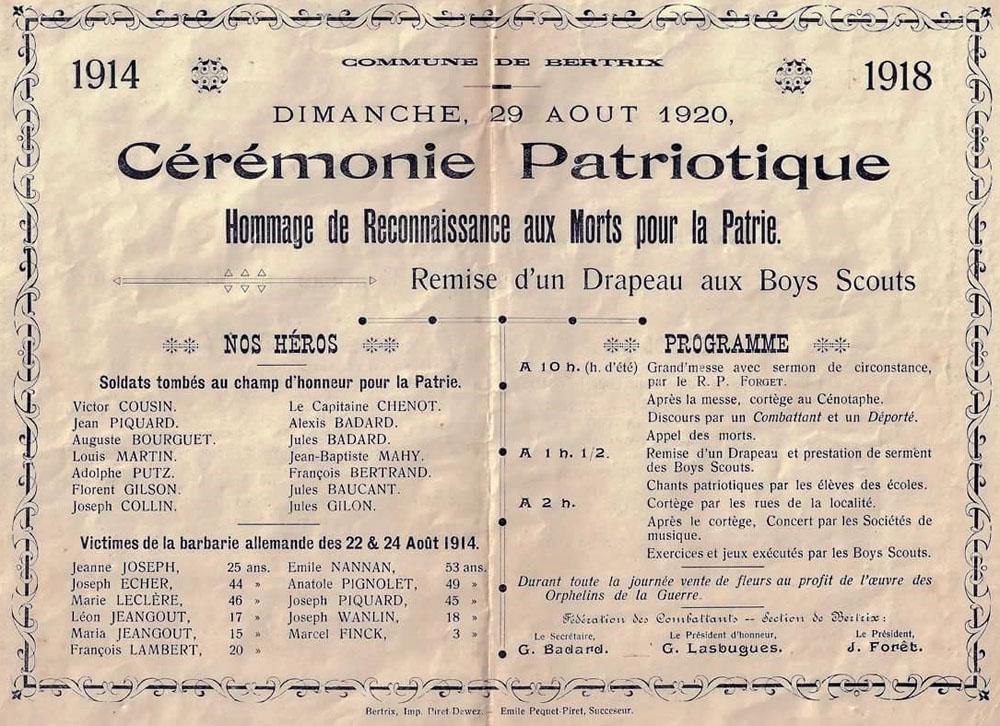 cérémonie patriotique 1920 mibb corr