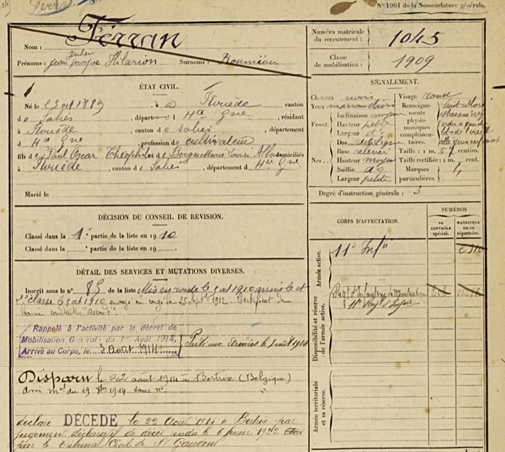 ferran jean julien prospère 1889 fiche etat civil et services