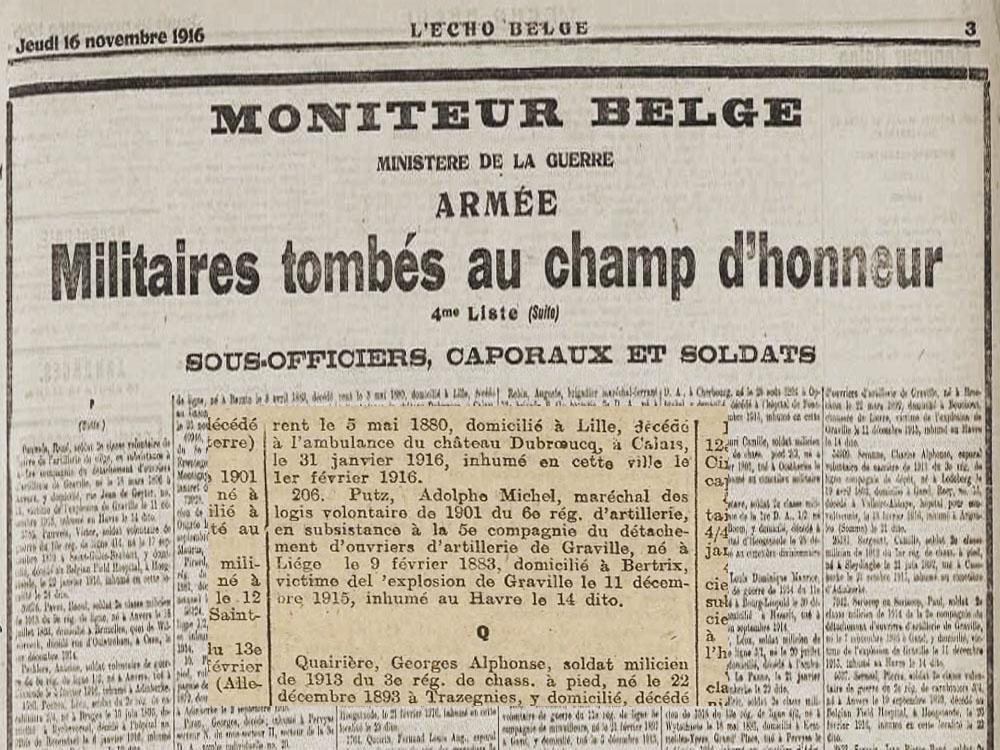 moniteur belge 1916 avec extrait putz