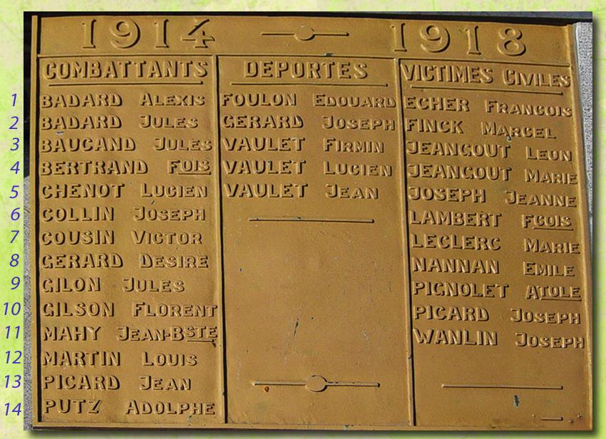 plaque du monument 14 combattants