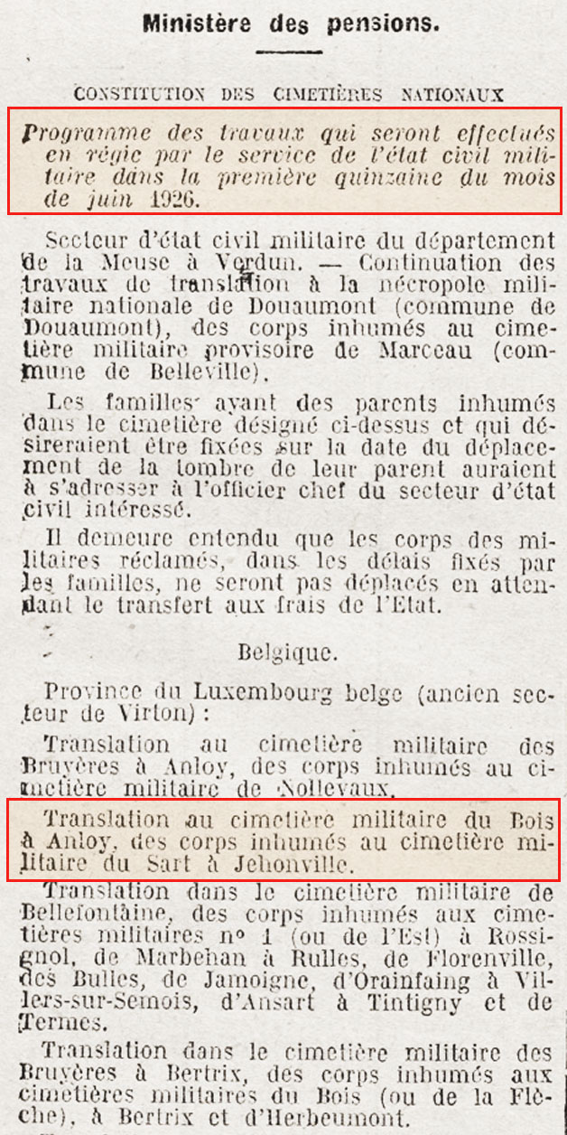 translation tombes en 1926 coupure journal
