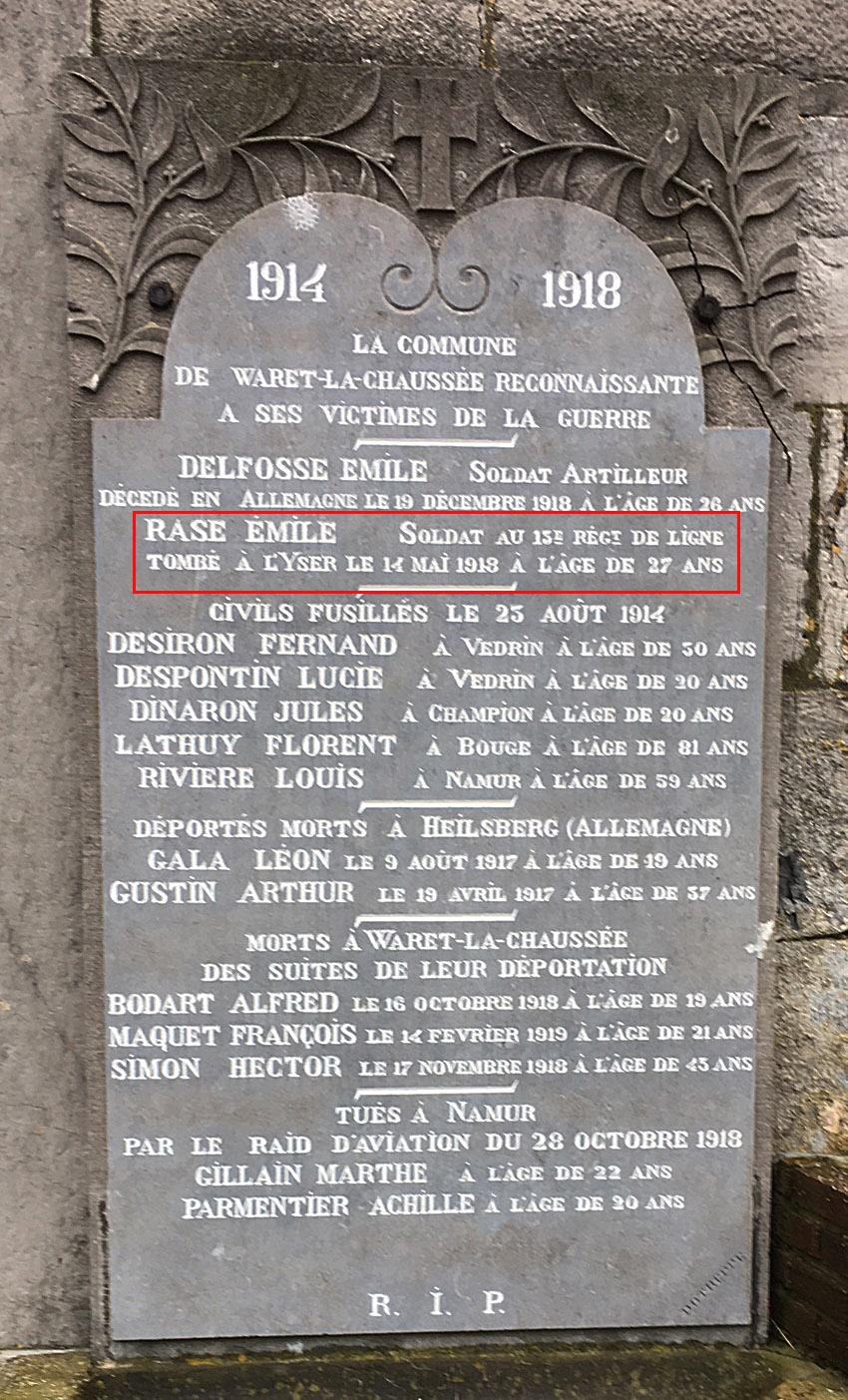 monument au morts de waret la chaussée