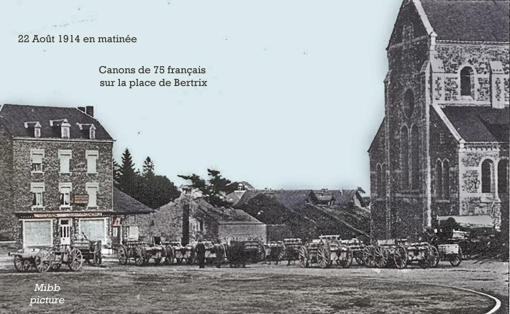 22 aout 1914 matinée canons & affuts devant l'Eglise copie