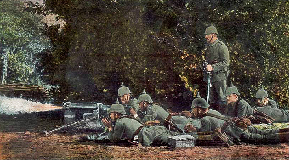 allemands mitrailleuse en action colormibb