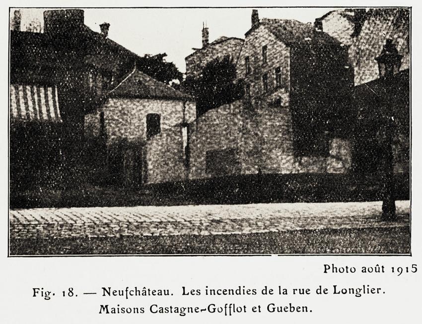 neufchateau maisons castagne gofflot rue de longlier photo 1915 invs allem